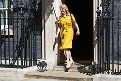 London, UK. 23 July, 2019. Liz Truss MP, Chief Secretary to the Treasury, leaves 10 Downing Street following the final Cabinet meeting of Theresa May's Premiership. The name of the new Conservative Party Leader, and so the new Prime Minister, is to be announced at a special event afterwards.