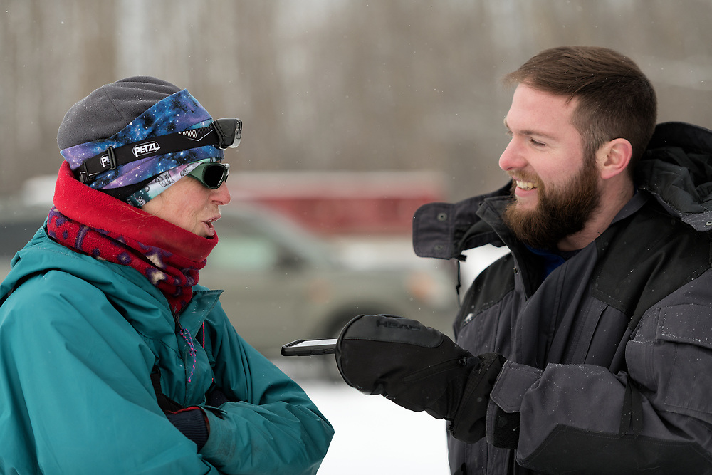Davis Hovey from KNOM Radio Mission in Nome, Alaska interviews Kirsten Bey at the start of the 2020 Serum Run Expedition.