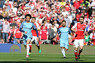 Leroy Sane of Manchester city (19) chases the ball. The Emirates FA Cup semi-final match, Arsenal v Manchester city at Wembley Stadium in London on Sunday 23rd April 2017.<br /> pic by Andrew Orchard,  Andrew Orchard sports photography.