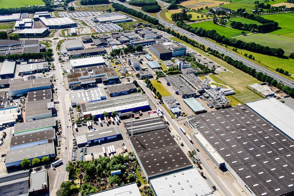 Nederland, Gelderland, Gemeente Barneveld, 09-06-2016; Bedrijventerrein De Harselaar, gelegen aan de A1 ten noorden van BaArneveld.<br /> Business park.<br /> luchtfoto (toeslag op standard tarieven);<br /> aerial photo (additional fee required);<br /> copyright foto/photo Siebe Swart