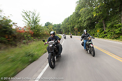Dave Kafton (L) riding his 1925 Harley-Davidson JD beside Mark Loewen on his 1925 Harley-Davidson JD Antique during Stage 6 of the Motorcycle Cannonball Cross-Country Endurance Run, which on this day ran from Cape Girardeau to Sedalia, MO., USA. Wednesday, September 10, 2014.  Photography ©2014 Michael Lichter.