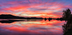 Panoramic view of sunset on Seehamer See, Bavaria, Germany, Europe
