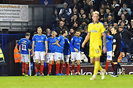 Goal - Ronan Curtis (11) of Portsmouth celebrates scoring a goal to make the score 2-1 during the EFL Sky Bet League 1 match between Portsmouth and AFC Wimbledon at Fratton Park, Portsmouth, England on 1 January 2019.