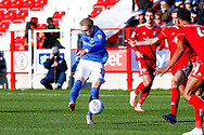 Portsmouth midfielder Ronan Curtis (11) with a shot during the EFL Sky Bet League 1 match between Accrington Stanley and Portsmouth at the Fraser Eagle Stadium, Accrington, England on 27 October 2018.