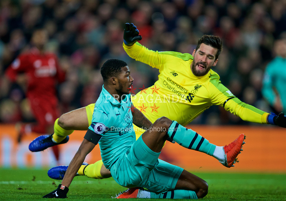 LIVERPOOL, ENGLAND - Saturday, December 29, 2018: Arsenal's Arsenal's Ainsley Maitland-Niles scores the first goal during the FA Premier League match between Liverpool FC and Arsenal FC at Anfield. (Pic by David Rawcliffe/Propaganda)