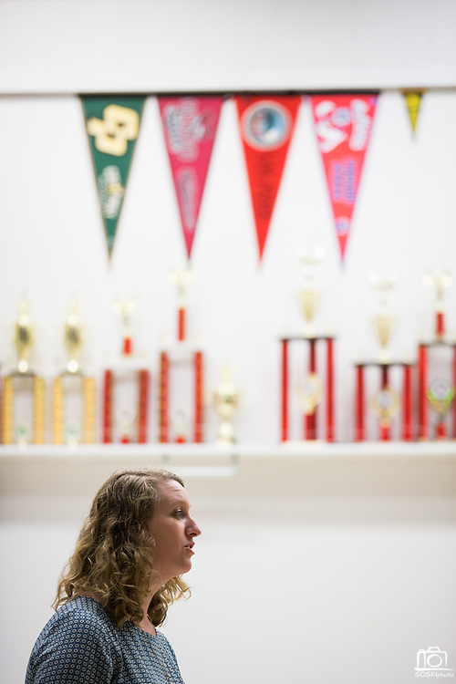 Marching Band instructor Emily Moore talks with parents during Back To School Night at Milpitas High School in Milpitas, California, on August 30, 2016. (Stan Olszewski/SOSKIphoto)