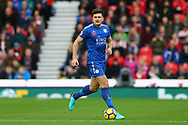 Harry Maguire of Leicester City in action. Premier league match, Stoke City v Leicester City at the Bet365 Stadium in Stoke on Trent, Staffs on Saturday 4th November 2017.<br /> pic by Chris Stading, Andrew Orchard sports photography.