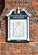 Historic Moot Hall building town guildhall,  Aldeburgh, Suffolk, England, UK 16th century Tudor architecture sundial 1650