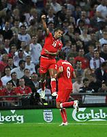 Photo: Tony Oudot/Richard Lane Photography.  England v Czech Republic. International match. 20/08/2008. <br /> Milan Baros of Czech Republic celebrates his first goal