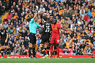 Ryan Mason of Hull City received a yellow card from referee Andre MarrinerPremier League match, Liverpool v Hull City at the Anfield stadium in Liverpool, Merseyside on Saturday 24th September 2016.<br /> pic by Chris Stading, Andrew Orchard sports photography.