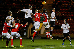 Aden Flint of Bristol City and George Ray of Crewe Alexandra compete in the air as Aaron Wilbraham of Bristol City looks on - Photo mandatory by-line: Rogan Thomson/JMP - 07966 386802 - 20/12/2014 - SPORT - FOOTBALL - Crewe, England - Alexandra Stadium - Crewe Alexandra v Bristol City - Sky Bet League 1.