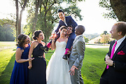 Brides celebrate their wedding with family and friends at Wedgewood Redwood Canyon in Castro Valley, California, on July 22, 2017. (Stan Olszewski/SOSKIphoto)