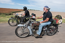 Utahns Kyle Rose (L) and Rick Salisbury of Utah ride their 1916 Excelsiors during the Motorcycle Cannonball Race of the Century. Stage-8 from Wichita, KS to Dodge City, KS. USA. Saturday September 17, 2016. Photography ©2016 Michael Lichter.