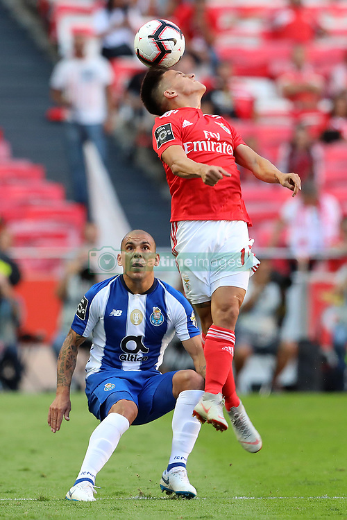 October 7, 2018 - Lisbon, Portugal, Portugal - Maxi Pereira of FC Porto (L) with Franco Cervi of SL Benfica (R) seen in action during League NOS 2018/19 football match between SL Benfica vs FC Porto. (Credit Image: © David Martins/SOPA Images via ZUMA Wire)