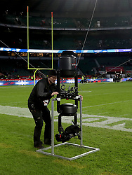 The Spidercam is brought back to the ground after the International Series NFL match at Twickenham, London. PRESS ASSOCIATION Photo. Picture date: Sunday October 29, 2017. See PA story GRIDIRON London. Photo credit should read: Simon Cooper/PA Wire. RESTRICTIONS: News and Editorial use only. Commercial/Non-Editorial use requires prior written permission from the NFL. Digital use subject to reasonable number restriction and no video simulation of game.