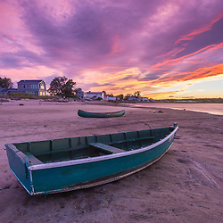 Skiffs at Pine Point in Scarborough, Maine at sunset.