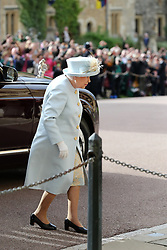 Queen Ellzabeth II arrives ahead of the wedding of Princess Eugenie to Jack Brooksbank at St George's Chapel in Windsor Castle.