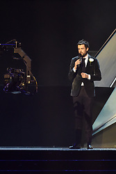 EDITORIAL USE ONLY.<br /><br />Jack Whitehall on stage at the Brit Awards at the O2 Arena, London.