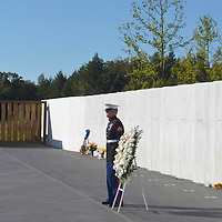 A Marine stands at attention along the Wall of Remembrances before Vice President Joseph Biden joins in the ceremony placing of the wreath at the Flight 93 National Memorial on September 11, 2012  near Shanksville, PA.  This is the 11th anniversary of the terrorist attack against the United States.  UPI/Archie Carpenter