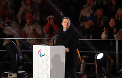 President of the International Paralympic Committee Andrew Parsons during the Closing Ceremony for the PyeongChang 2018 Winter Paralympics in South Korea. PRESS ASSOCIATION Photo. Picture date: Sunday March 18, 2018. See PA story PARALYMPICS Ceremony. Photo credit should read: Adam Davy/PA Wire. RESTRICTIONS: Editorial use only. No commercial use.