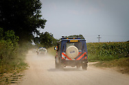 A Dutch Frontex vehicle accompanies the Greek border police along the 12km stretch of the Greek/Turkish border that is not separated by the Evros river. The joint operation is called Poseidon Land 2011, in which the European external border agency (Frontex) assist Greek authorities in border protection. Nea Vissa, Evros July 2011