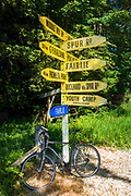 Bicycle and raod sign in Middle Valley, Canterbury, South Island, New Zealand
