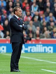 Liverpool Manager, Brendan Rodgers looks on- Photo mandatory by-line: Nizaam Jones/JMP - Mobile: 07966 386802 - 24/05/2015 - SPORT - Football - Stoke - Britannia Stadium - Stoke City v Liverpool - Barclays Premier League