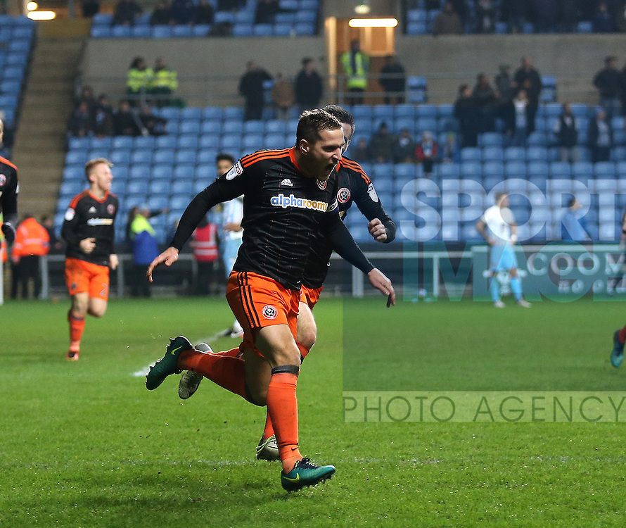 Billy Sharp of Sheffield Utd celebrates scoring the winning goal during the English League One match at the Rioch Arena Stadium, Coventry. Picture date: December 15th, 2016. Pic Simon Bellis/Sportimage