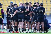 Team black players huddle in the All Blacks Sevens match, Sky Stadium, Wellington, Sunday, April 11, 2021. Copyright photo: Kerry Marshall / www.photosport.nz
