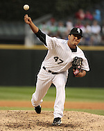 CHICAGO - SEPTEMBER 18:  Gregory Infante #47 of the Chicago White Sox pitches against the Detroit Tigers on September 18, 2010 at U.S. Cellular Field in Chicago, Illinois.  The Tigers defeated the White Sox 6-3.  (Photo by Ron Vesely)