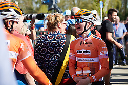 Megan Guarnier (USA) laughs with a teammate ahead of La Flèche Wallonne Femmes 2018, a 118.5 km road race starting and finishing in Huy on April 18, 2018. Photo by Sean Robinson/Velofocus.com