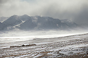 The lower Ech Keli camp, in a snow storm...Trekking through the high altitude plateau of the Little Pamir mountains, where the Afghan Kyrgyz community live all year, on the borders of China, Tajikistan and Pakistan.