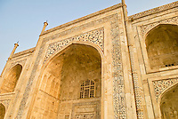 A low angle of the front of the Taj Mahal in Agra, Uttar Pradesh, India