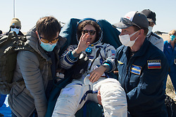 Expedition 62 crew member Jessica Meir of NASA is carried to an All Terrain Vehicle (ATV) shortly after she, NASA astronaut Andrew Morgan, and Roscosmos cosmonaut Oleg Skripochka landed in their Soyuz MS-15 spacecraft near the town of Zhezkazgan, Kazakhstan on Friday, April 17, 2020. Meir and Skripochka returned after 205 days in space, and Morgan after 272 days in space. All three served as Expedition 60-61-62 crew members onboard the International Space Station.<br /> <br /> Where: Zhezkazgan, Kazakhstan<br /> When: 17 Apr 2020<br /> Credit: NASA/GCTC/Andrey Shelepin/Cover Images<br /> <br /> **Editorial use only**
