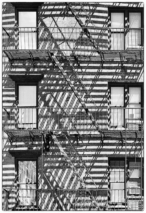Fire escapes on Third Avenue near 76th street in New York City