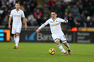 Roque Mesa of Swansea city in action. Premier league match, Swansea city v West Bromwich Albion at the Liberty Stadium in Swansea, South Wales on Saturday 9th December 2017.<br /> pic by  Andrew Orchard, Andrew Orchard sports photography.