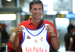 Rower Nikola Stojic of Serbian Olympic Team at departure to Beijing 2008 Olympic games, on July 31, 2008, at Airport Jozeta Pucnika, Brnik, Slovenia. (Photo by Vid Ponikvar / Sportal Images)/ Sportida)