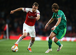 September 20, 2018 - London, England, United Kingdom - L-R Arsenal's Stephan Lichtsteiner takes on Pavlo Rebenok of FC Vorskla Poltava.during UAFA Europa League Group E between Arsenal and FC Vorskla Poltava at Emirates stadium , London, England on 20 Sept 2018. (Credit Image: © Action Foto Sport/NurPhoto/ZUMA Press)