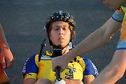 Een vermoeide Ellen van Vught nadat ze haar persoonlijk record heeft gereden. In de buurt van Battle Mountain, Nevada, strijden van 10 tot en met 15 september 2012 verschillende teams om het wereldrecord fietsen tijdens de World Human Powered Speed Challenge. Het huidige record is 133 km/h.<br /> <br /> Ellen van Vugt is exhausted after breaking her personal record. Near Battle Mountain, Nevada, several teams are trying to set a new world record cycling at the World Human Powered Speed Challenge from Sept. 10th till Sept. 15th. The current record is 133 km/h.
