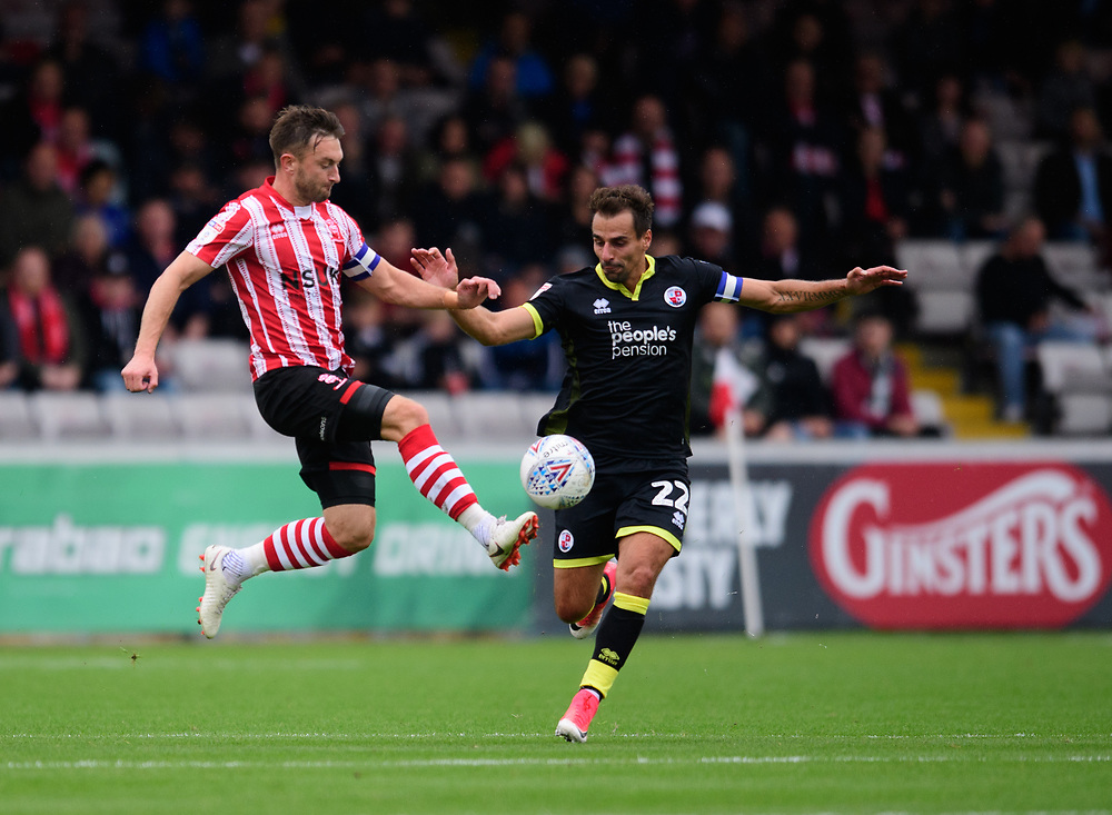 Lincoln City's Lee Frecklington vies for possession with Crawley Town's Filipe Morais<br /> <br /> Photographer Chris Vaughan/CameraSport<br /> <br /> The EFL Sky Bet League Two - Lincoln City v Crawley Town - Saturday September 8th 2018 - Sincil Bank - Lincoln<br /> <br /> World Copyright © 2018 CameraSport. All rights reserved. 43 Linden Ave. Countesthorpe. Leicester. England. LE8 5PG - Tel: +44 (0) 116 277 4147 - admin@camerasport.com - www.camerasport.com