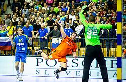 Evert Kooijman of Netherlands vs Rok Zaponsek of Slovenia during handball match between National teams of Slovenia and Netherlands in Qualifications of 2020 Men's EHF EURO, on April 14, 2019, in Arena Zlatorog, Celje, Slovenia. Photo by Vid Ponikvar / Sportida
