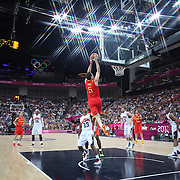 Rudy Fernandez, Spain, scores two points in action during the Men's Basketball Final between USA and Spain at the North Greenwich Arena during the London 2012 Olympic games. London, UK. 12th August 2012. Photo Tim Clayton