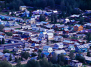 View of the gold rush town of Dawson City from bluff across the Yukon River, Yukon Territory, Canada.