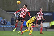 Sunderland defender Reece James (16) wins the ball during the EFL Sky Bet League 1 match between Oxford United and Sunderland at the Kassam Stadium, Oxford, England on 9 February 2019.