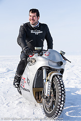 Russian custom bike builder Yaroslav Tatarinov with his 2008 Kawasaki 1350 GTR 1350cc with incredible hand crafted aluminum body work at the Baikal Mile Ice Speed Festival. Maksimiha, Siberia, Russia. Saturday, February 29, 2020. Photography ©2020 Michael Lichter.
