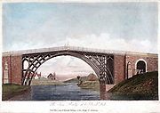 Abraham Darby III's iron bridge across the Severn at Ironbridge, Coalbrookdale, England. First iron bridge in world, built between 1776 and 1779.  Hand-coloured engraving published 1809.