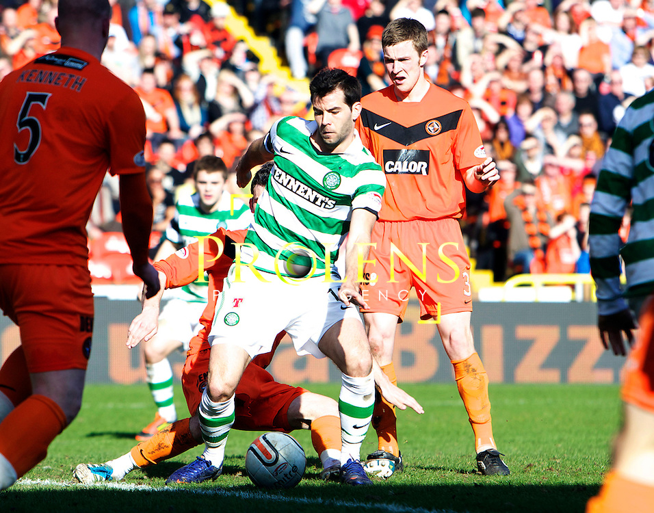 SFA, SPL WILLIAM HILL  SCOTTISH  FA CUP  6th round, Season 2011-12  DUNDEE UNITED   FC v CELTIC  FC..11-03-12..  .Joe Ledley of Celtic scores the opener During the William Hill Scottish Cup 6th Round match between (SPL) Clydesdale Bank Premier League teams Dundee United FC and Celtic FC. As Celtic look to maintain thier chances of a domestic clean sweep and treble.. At Tannadice Stadium, Dundee..Picture, Mark Davison/ Prolens Photo Agency/PLPA.<br /> Sunday 11th Match 2012
