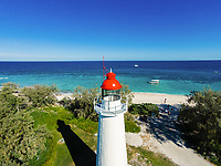 Aerial view of Lady Elliot Island Lighthouse, Lady Elliot Island, Great Barrier Reef, Queensland, Australia