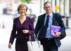 © Licensed to London News Pictures. 02/06/2019. London, UK. Former Leader of the House of Commons and Conservative Party leadership contender Andrea Leadsom (L) arrives at BBC Broadcasting House with her husband, Ben Leadsom (R), to appear on The Andrew Marr Show. Photo credit: Rob Pinney/LNP