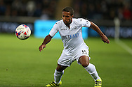 Wayne Routledge of Swansea city in action. EFL Cup. 3rd round match, Swansea city v Manchester city at the Liberty Stadium in Swansea, South Wales on Wednesday 21st September 2016.<br /> pic by  Andrew Orchard, Andrew Orchard sports photography.